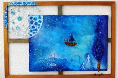 Zvjezdano nebo s brodom, kombinirana tehnika, 103x75x7cm,2014.